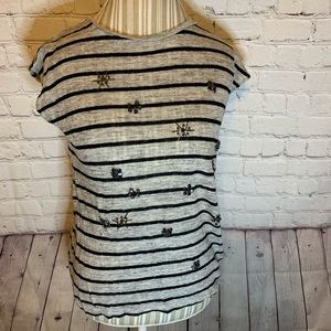 Madewell linen  striped bejeweled T-shirt, S